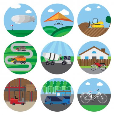 Set of icons of transport. It contains zeppelin, concrete mixer truck, forklift, pallet, rack, box, bike, bulldozer and more.  The icons in circles with background objects. stock vector