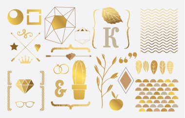 Set of gold elements for design
