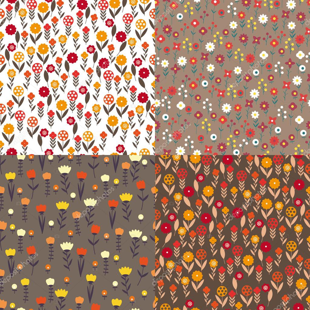 textile patterns of flowers