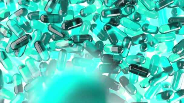 Light blue 3D realistic pills falling down in slow motion on white isolated background. Medicine 3d animation backdrop.