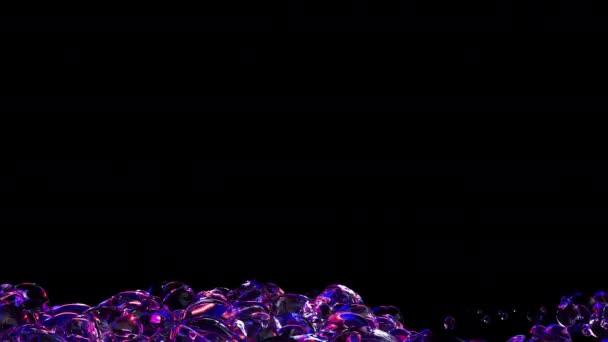 Abstrakte 3D-Animation lila Blasen auf schwarzem Hintergrund. Flüssige Wasserblasen fliegen auf.