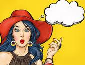 Fotografie Pop-Art-Mädchen mit Gedanken Blase. Einladung zur Weihnachtsfeier. Geburtstagskarte. Hollywood, Filmstar. Komische Frau. Sexy Mädchen. Verkauf, Rabatt, erstaunt, Wow, Niedlich, Lippen, Hippie, Gesicht, Wow, Make-up, Wunder, Versuchung