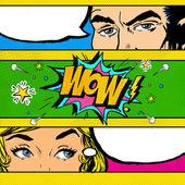 Pop Art Comic Dialog. Pop-Art-Paar. Popart-Liebe. Werbeplakat. Komiker und Frauen mit Sprechblasen. Wow Gesicht. Überraschung. Valentinstag. Sensation. Tratsch.