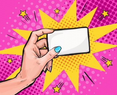Female hand  holding a card in Pop art style.Pop art background. Party invitation. pop art, pop art design, pop art illustration, bubble, comic,message, business card, visiting card, calling card,info
