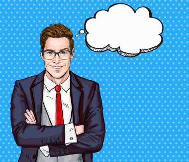 Smiling Businessman in glasses in comic style with speech bubble.Success .Worker.