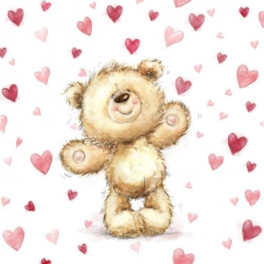 Teddy bear with  red hearts.Valentines greeting card. Love design.Love.I love You card.