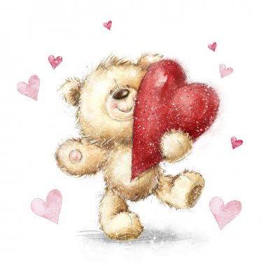 Teddy bear with the big red heart.Valentines greeting card. Love design.Love.I love You card.