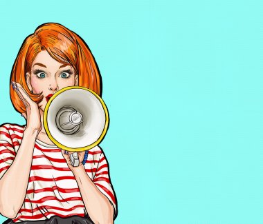 Pop art girl with megaphone. Woman with loudspeaker.Girl announcing discount or sale.Shopping time.Protest, meeting, feminism, woman rights, woman protest, girl power. Pop art background,