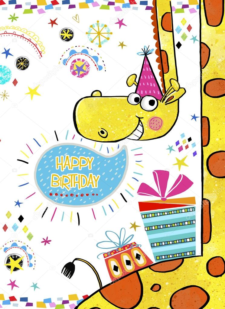 Giraffe with giftshappy birthday invitationrthday greeting happy birthday invitationrthday greeting card with gifts in bright colors stopboris Gallery