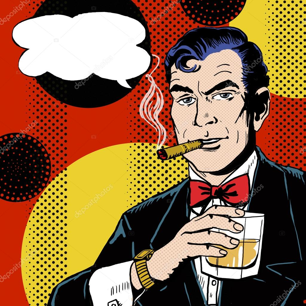 Vintage Pop Art Man with glass  smoking  cigar and with speech bubble. Pop Art background.Man in comic style.