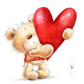 Teddy-Bär mit der großen roten heart.childish-Abbildung in süßen colors.background mit Bär und Herz. Hand gezeichneten Teddybär isoliert auf weißem background.valentines