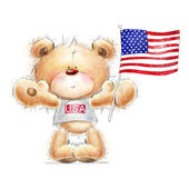 Cute Teddy bear with the  USA flag. Background with bear and flag. Hand drawn teddy bear isolated on white background.Independence day. Greeting card with cute Teddy  .