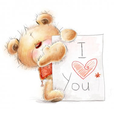Cute Teddy bear with the big paper with the text. Background with bear and heart. Hand drawn teddy bear isolated on white background.Valentines greeting card. Love design.I love you