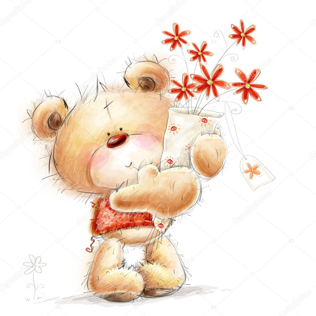 Cute Teddy bear with the red flowers. Background with bear and flowers. Hand drawn teddy bear isolated on white background.Valentines greeting card. Love design.I love