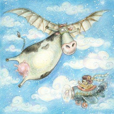Cute flying cow.Vintage background.Children illustration. Cartoon childish background in vintage colors.