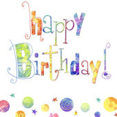 schönen Geburtstag Grußkarte mit Text, Tropfen und Sterne in leuchtenden Farben. Geburtstagskarte. Geburtstag-Hintergrund.