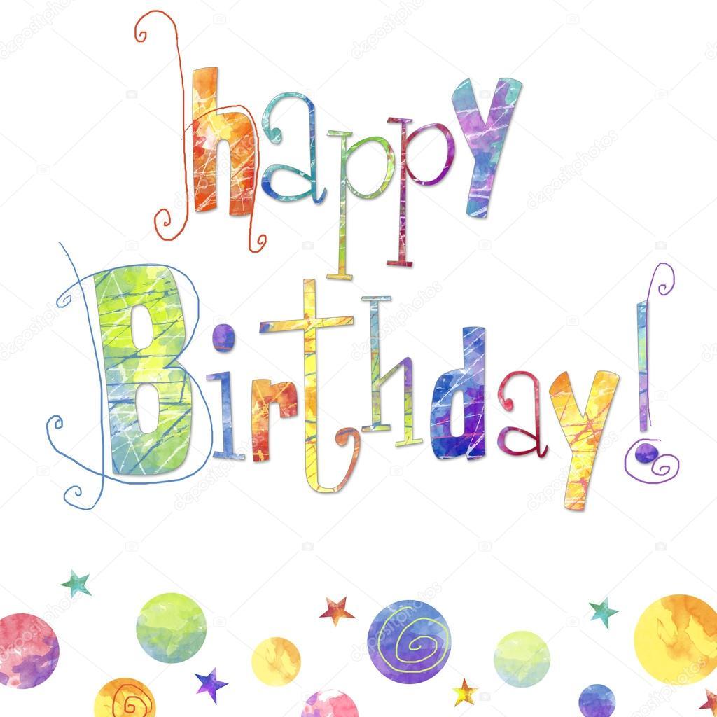 schönen Geburtstag Grußkarte mit Text, Tropfen und Sterne in ...