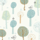 Fotografie hellen Hintergrund mit den Vögeln und Bäumen. Cartoon-Sommer-wallpaper.seamless-Muster kann verwendet werden, für Tapeten, Musterfüllungen, Webseite Hintergrund, Oberflächenstrukturen