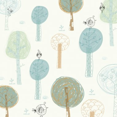 Bright background with the birds and trees. Cartoon summer wallpaper.Seamless pattern can be used for wallpapers, pattern fills, web page backgrounds, surface textures.
