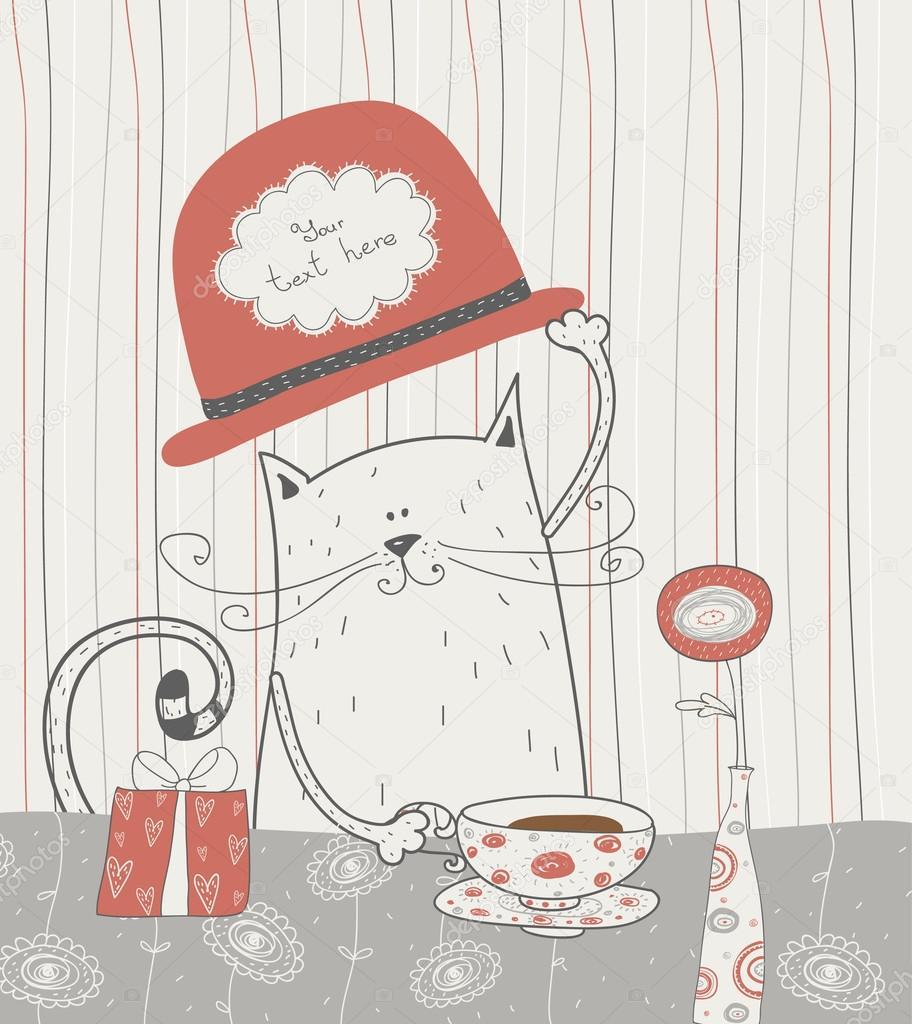 Fondo lindo vector con gato en el sombrero. marco romántico ...