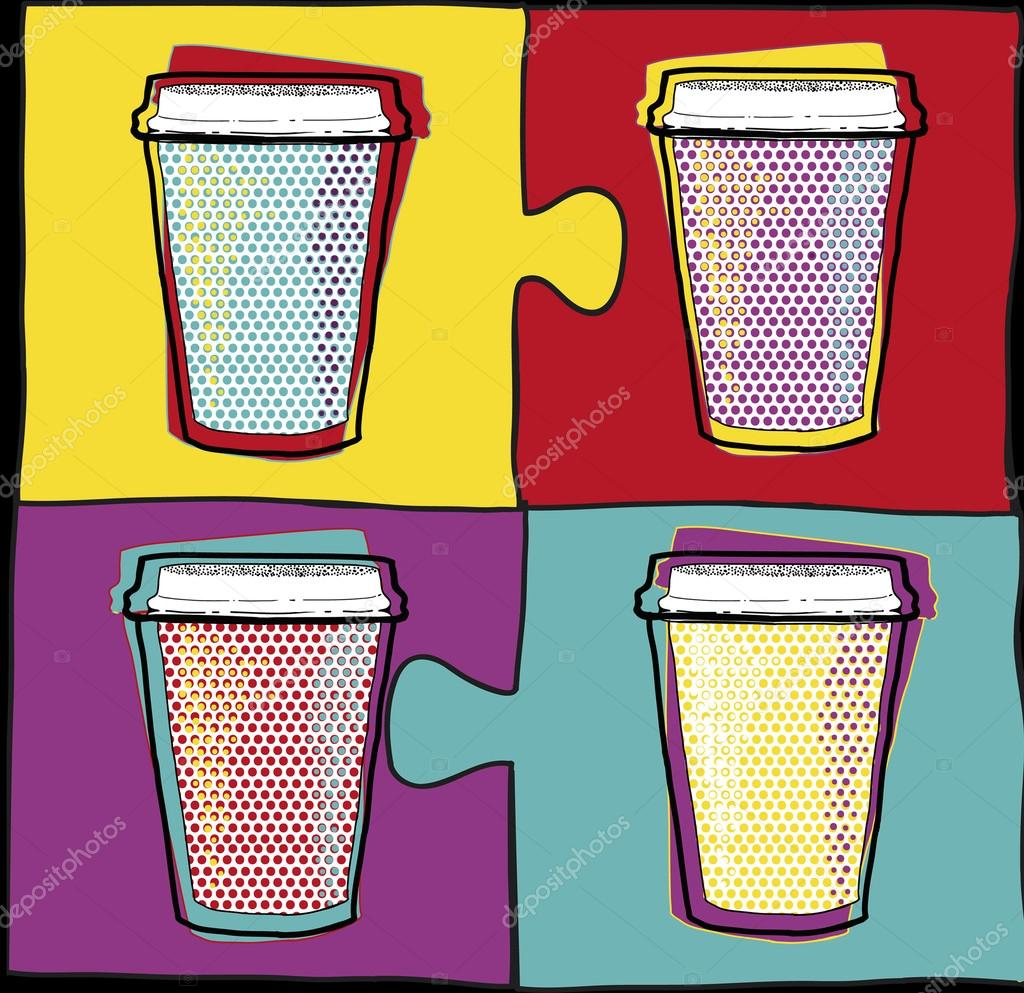 Cups in Pop Art style.Coffee drinking cups.Vector illustration.Party.Hot drinks.