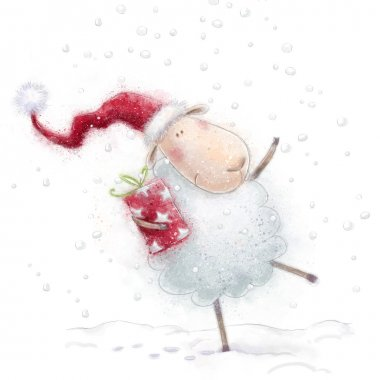 Christmas sheep.Cute sheep with the gift in Santa hat on snow background.Christmas greeting card.Happy New Year 2015. Concept background in bright colors. Merry Christmas card with cute cartoon sheep