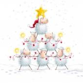 Vánoční ovce. Vánoční stromek s hvězdou z roztomilý ovce. Novoroční blahopřání. Vánoční pozadí. Kreslené vtipné ovce s Bengálsko světly a lemují světla. Vánoční obrázek