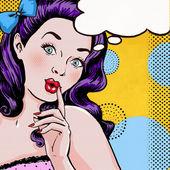 Nő a beszéd buborék pop Art illusztrációja. Pop-Art lány. Meghívó. Születésnapi üdvözlőkártya.