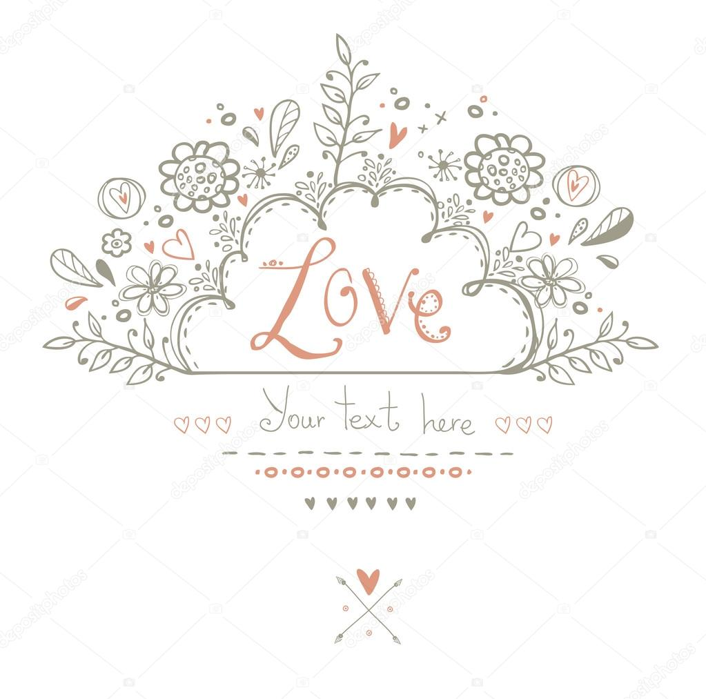 Beautiful  Love card in vintage style. Delightful wedding invitation with romantic elements: flowers, hearts and others in vector .Save the Date design.Love background.