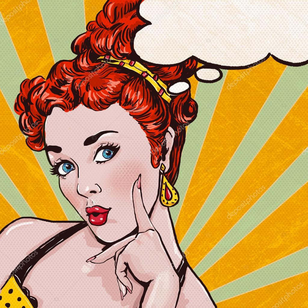 Pop Art illustration of woman with the speech bubble.Pop Art girl. Party invitation. Birthday greeting card.