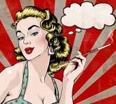 Pop-Art-Illustration der Frau mit der Sprechblase und Zigarette. Pop-Art-Mädchen. Einladung zur Weihnachtsfeier. Grußkarte Geburtstag.