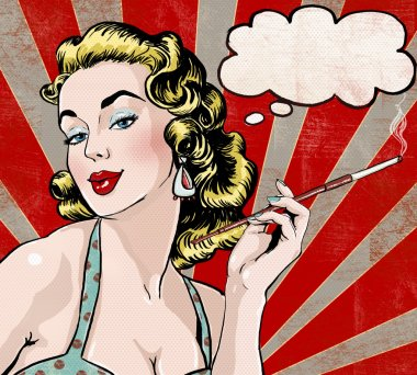 Pop Art illustration of woman with the speech bubble and cigarette.Pop Art girl. Party invitation. Birthday greeting card.