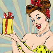 Az ajándék a vintage stílusú lány. Pin-up lány. Meghívó. Születésnapi üdvözlőkártya.