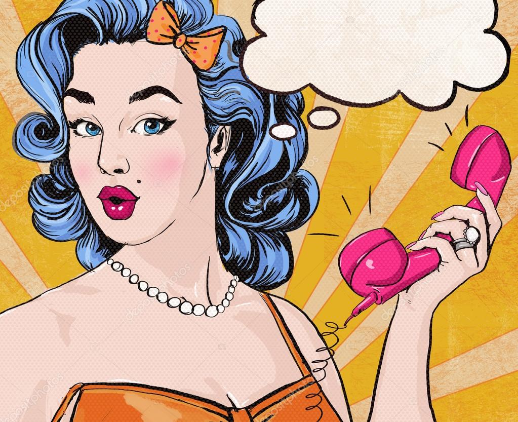 Pop Art illustration of woman with the speech bubble ant retro telephone.Pop Art girl. Party invitation. Birthday greeting card.Call me. Cute girl surprised by the call. Vintage pop art poster.