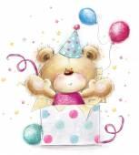 Fényképek Teddy bear az ajándékot. Gyerekes illusztráció édes színben. Medve és a ajándékok és a buborékok háttér. Kézzel rajzolt mackó elszigetelt fehér background. Boldog születésnapot kártya
