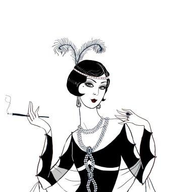 Flapper girl: Retro party invitation design.Art deco women with cigarette