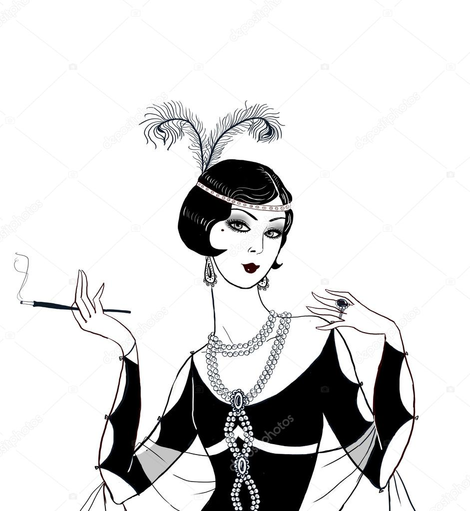 Flapper girl retro party invitation designt deco women with flapper girl retro party invitation designt deco women with cigarette tro birthday invitation great gatsby style party jazz party invitation poster stopboris Gallery
