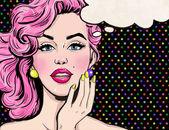 Pop-Art-Illustration von Mädchen mit der Sprechblase. Pop-Art-Mädchen. Party-Einladung. Geburtstag-Grußkarte. Hollywood-Filmstar.Comic Frau mit Sprechblase. Sexy Mädchen. Magazin-Cover-Mädchen. Supermodel