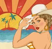 Komische Darstellung der Mädchen am Strand. Pop-Art-Mädchen. Einladung zur Weihnachtsfeier. Hollywood-Filmstar. Jahrgang Werbeplakat. Ferien-Poster. Tourismus-Poster. Sexy Frau am Strand. Party am Strand