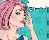 Fotografie Popart Illustration überrascht Frau mit der Sprechblase. Pop-Art-Mädchen. Comic-Buchillustration. Pop-Art-Frau. Hollywood-Filmstar. Jahrgang Werbeplakat
