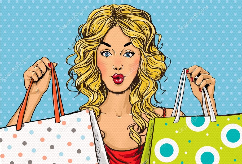 Pop Art blond women with shopping bags in the hands.Shopping Time.Sale and discount time. Black Friday.Fashion days.Pop Art girl.Hollywood movie star.Shopaholic blond girl with bags.Sale in the store.
