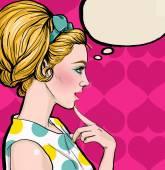 Fotografie Pop-Art-Illustration der blonde Mädchen im Profil mit der Sprechblase. Pop-Art-Mädchen. Einladung zur Weihnachtsfeier. Grußkarte Geburtstag. Jahrgang Werbeplakat. Komische Frau mit Sprechblase. Sexy Disco-Mädchen
