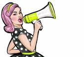 Photo Pop art girl with megaphone. Woman with loudspeaker. Girl announcing discount or sale. Shopping time. Protest, meeting, feminism, woman rights, woman protest, girl power.