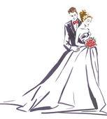 Abbracciare delle coppie di nozze. Siluetta della sposa e dello sposo. Invito a nozze. Partecipazione di nozze. Sfondo di matrimonio. Coppie di amore.