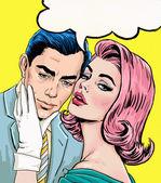 Fotografie Liebe Paar. Pop Art Couple.Pop Kunst Liebe. Valentinstag-Postkarte. Hollywood-Film-Szene. Pop-Art-Abbildung Pop-Art Liebe Liebe. Valentinstag-Postkarte. Wahre Liebe. Film-Poster. Comic-Buch-Liebe