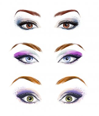 Set of female eyes and brows image with beautifully fashion make up. Fashion illustration. Green eyes. Blue eyes. Brown eyes.