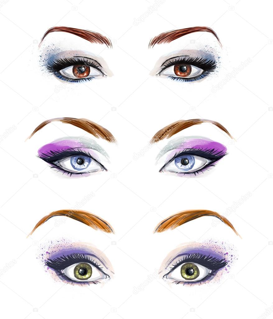 Zestaw Kobiece Oczy I Brwi Obrazu Z Pięknie Moda Makijaż Ilustracja