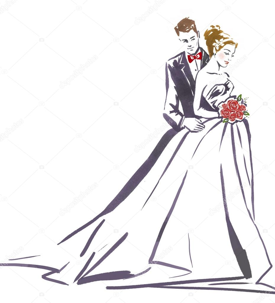 Wedding couple hugging.Silhouette of bride and groom.Wedding ...