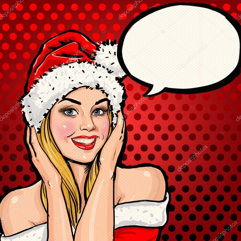 Christmas Party Speeches Part - 48: Girl In Santa Hat With Speech Bubble On Red Background.Christmas Santa Hat  Woman Portrait .Smiling Happy Girl. Blond Girl In Santa Hat. Christmas Party  ...