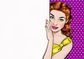 Schönes Mädchen aus dem leeren Brett im Pop-Art-Stil suchen. Pop-Art-Mädchen. Einladung zur Weihnachtsfeier. Grußkarte Geburtstag. Hollywood-Filmstar. Jahrgang Werbeplakat. Frau gestalten. Ingwer-Haar-Mädchen. Sexy